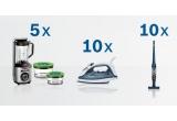 5 x Blender vacuum Bosch MMBV625M, 10 x Fier de calcat Bosch TDA2365, 10 x Aspirator vertical Bosch BBH22041