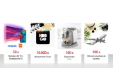 50 x pachet TV Philips 55PUS7304/12 + telefon Xiaomi Mi MIX 3, 100 x voucher de calatorie de 100 euro, 100 x espresor de cafea automat Philips 2000 series HD865119, 10.000 x abonament de 2 luni HBO GO, 500 x voucher Fashion Days de 100 euro