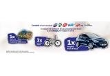 1 x masina Ford Fiesta Trend, 1 x city break pentru 2 persoane in valoare de 1000 euro, 3 x bicicleta Pegas Cutezator EV Banana Negru Stelar