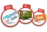 1 x voucher vacanta in valoare de 5000 lei, 10 x  televizor in valoare de 1000 lei, 100 x voucher Profi in valoare de 50 lei
