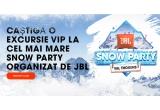 90 x excursie VIP la cel mai mare Snow Party organizat de JBL (2 bilete la JBL Snow Party in Val Thorens-Franța + 2 bilete de avion dus-intors la Geneva sau Lyon + 3 nopți de cazare (all inclusive) intr-o camera dubla la hotelul Club Med Val Thorens Sensations + Transport terestru catre și de la hotel la aeroportul din Geneva sau la aeroportul din Lyon + serie de diverse cadouri + inchiriere de schiuri pentru 2 zile)
