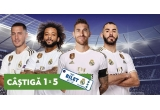 1 x experienta unica cu Real Madrid la meciul El Clasico pentru tine si 4 prieteni, 1000 x desfacator de sticle cu magnet, 1000 x sticla sport pentru apa, 400 x geanta cosmetice, 30 x minge Adidas Uniforia J350 League, 10 x voucher Intersport de 500 Ron