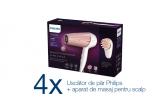 4 x uscator de par Philips HP8283/00 + aparat masaj scalp, 307 x Dove sampon, 45 x Dove balsam, 352 x perie de par, 176 x prosop 50x100 cm