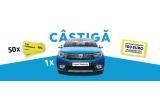 1 x mașina Dacia Logan Stepway TCe90, 50 x plin de carburant de 300 lei, garantat: 100 euro discount la achizitia unui autovehicul Dacia nou