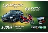 1 x masina Honda Civic Sedan, 9 x scuter Honda PXC 125, 1000 x card de carburant in valoare de 150 lei
