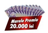 1 x 20.000 de lei, 5.000 x 50 de lei, 100 x bere pentru 1 an, 30000 x bax de bere Bürger 1L PET