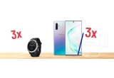 3 x smartphone Samsung Galaxy Note 10+, 3 x smartwatch Garmin Vivoactive 3