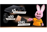 5 x consola Sony PlayStation 4, 50 x bratara Fitness Garmin Vivo Fit, 145 x Duracell power banks