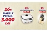 16 x 3.000 de lei, 35 x set de cuțite Tefal Comfort Touch, 35 x Multicooker 7 in 1 Tefal Versalio Deluxe FR490070