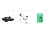 1 x Pick-up Yamaha MusicCast Vinyl 500 Piano White, 4 x pereche de casti Airpods Pro, 42 x Abonament Spotify premium family