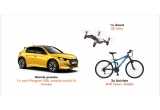 1 x masina Peugeot 208 Pneuma 3D Active, 1 x drona Dji Tello, 2 x bicicleta MTB Velors 2660A