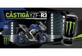 1 x motocicleta Yamaha YZF-R3, 50 x tricou Monster, 50 x sapca Monster