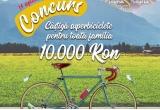 1 x voucher de 10.000 lei pentru achizitia a 4 biciclete pentru intreaga familie, 15 x 100 Euro