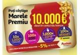 1 x 10.000 Euro, 10 x carucior de cumparaturi de 1.000 lei, 100 x coș de cumparaturi de 100 lei, 1.000 x cod de reducere de 10% pentru cumparaturile pe auchan.ro, 100 x plin carburant de 250 lei la Petrom