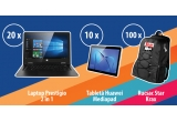 20 x Laptop Prestigio 2in1 Visconte Eliptica, 10 x Tableta Huawei Mediapad, 100 x Rucsac Star Krax