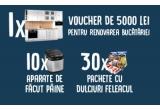 1 x voucher eMAG de 5.000 lei pentru renovarea bucatariei, 10 x mașina de facut paine Tefal Pain & Delices PF240, 30 x pachet cu dulciuri Feleacul de 150 lei