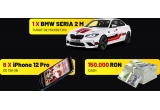 1 x masina BMW M2 Xdrive tunat, 8 x iPhone 12 Pro 128 GB, 10 x 5000 ron, 20 x 2500 ron, 100 x 500 ron,