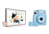 1 x televizor Samsung The Frame 65LS03T Smart 4K Ultra HD QLED 163 cm, 60 x camera foto instant Fujifilm Instax Mini 11 Sky Blue