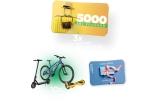 "10 x Kit de familie (1 Hoverboard Freewheel Complete Lite Graffiti + 1 Bicicleta Carpat 26"" City Liberta C2693A + 1 Trotineta Electrica KugooS1), 15 x Voucher Fashion Days de 500 lei, 3 x Voucher de vacanța in Romania in valoare de 5000 de ron"