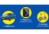 1 x mașina BMW Seria 1 118d Hatch, 5 x smartphone Apple iPhone 12 64GB Black cu autograful lui Plus, 10 x bicicleta electrica pliabile Himo 20