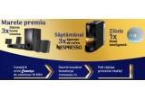 3 x Sistem Home Cinema 5.1 cu Blu-Ray 3D Sony Wireless Bluetooth, 24 x Aparat de cafea Essenza Mini Nespresso Negru, 54 x Boxa Inteligenta Amazon Echo Dot 4