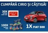 1 x mașina Fiat 500 Pop, 30 x voucher Bilancia de 250 lei pentru ustensile de bucatarie, 100 x coș gourmet cu produse Cirio