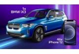1 x mașina electrica BMW iX3, 46 x Apple iPhone 12 128 GB
