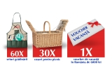 1 x Voucher de vacanța in Romania de 6000 lei, 30 x Coș pentru picnic personalizat ZIZIN, 60 x Set gradinarit personalizat ZIZIN