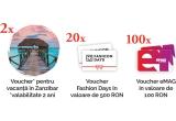 2 x Voucher pentru vacanța in Zanzibar (transport și cazare pentru 2 persoane in Zanzibar – Tanzania), 20 x Voucher Fashion Days de 500 RON, 100 x Voucher eMAG de 100 RON