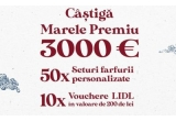 1 x 3000 euro, 50 x Set 3 farfurii + 1 Bol Chicineta, 10 x Voucher LIDL de 200 de lei