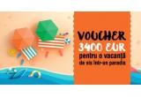 1 x voucher de vacanta in valoare de 3400 Euro, 10 x 100 Euro