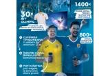 30 x kit Olimpiada format din LED TV Smart Samsung + tricou oficial Olimpiada, 1400 x kit de suporter format din minge + tricou suporter replica galben, 800 x tricou Nationala Fan Suporter albastru