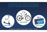 1 x bicicleta MTB XC 100 Rockrider, 5 x trotineta Oxelo Town 5 XL, 50 x voucher Dechatlon de 200 lei