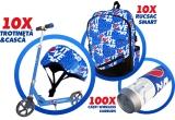10 x Trotineta + casca personalizata Pepsi, 10 x Rucsac Smart personalizat Pepsi , 100 x pereche casti Wireless Earbuds cu personalizare Pepsi