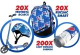 20 x Trotineta + casca personalizata Pepsi, 20 x Rucsac Smart personalizat Pepsi, 200 x pereche casti Wireless Earbuds cu personalizare Pepsi