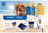 155 x prosop de plaja Nivea Sun, 326 x geanta de plaja, 885 x pahar de calatorie din sticla, 1085 x zmeu pentru copii cu suprafata de colorat, 1400 x set de recipiente travel