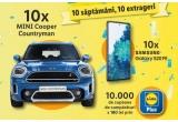 10 x mașina Mini Cooper Countryman, 10 x smartphone Samsung Galaxy S20 FE 2021 128 GB Cloud Navy, 10.000 x voucher de cumparaturi Lidl de 100 lei prin aplicația Lidl Plus