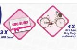 3 x 500 euro, 4 x bicicleta de dama Holymoly Lady Solo pentru oraș
