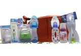 <p> geanta izoterma, termometru cu varf flexibil, port suzeta, biberon 0-3 luni, biberon anti-colici, suzeta silicon ortodontica, biberon 0+, set perii biberon si tetine <br /> </p>