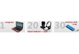 un Computer ACER Aspire One, 20 x seturi Webcam + casti audio, 30 x Memory stick 4 GB