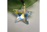 4 x pandantive pe snur de piele in forma de stea realizate din cristale Swarovski