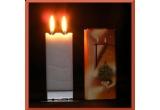 3 x lumanari decorative tip felicitare cu 2 fitile, oferite de CandleShop.ro