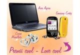 un Mini laptop Acer AspireOne 751h-52BK Atom Z520 1.33GHz XP Home Edition, un Telefon mobil Samsung S3650 Corby yellow, o pereche de cercei Morellato- colectia Love