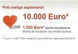 1.000 x Blender manual Braun in valoare de 102 RON, 6 x Voucher mobila bucatarie sau electrocasnice in valoare de 1.500 Euro, 6 x 10.000 Euro