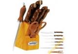un set de cutite (7 piese din inox: 5 cutite + foarfeca + ascutitor ) + suport lemn masiv